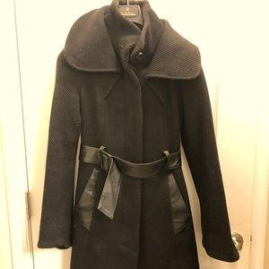 Mackage Belted Black Wool Coat